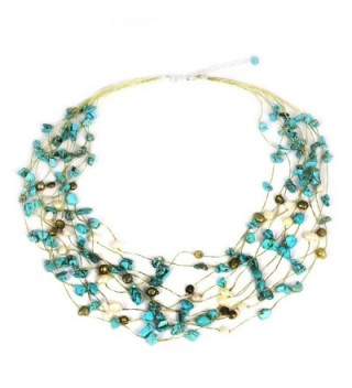 """NOVICA Cultured Freshwater Pearl and Magnesite Multi-strand Necklace 'Cool Shower'- 20.5"""" - C1114TXXYU9"""
