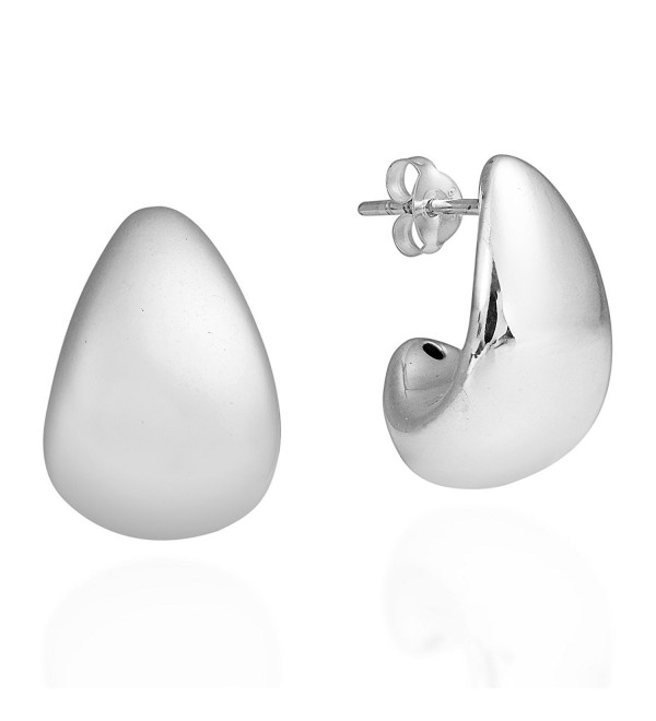Modern Chunky Curve TearDrop .925 Sterling Silver Post Earrings - CT11AAK3UD9
