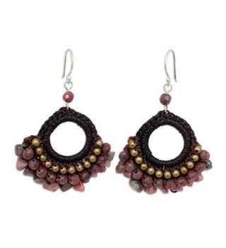NOVICA Rhodonite and Brass Beaded Chandelier Earrings with Sterling Silver Hooks- 'Rose Lanna' - CW11G3W6AKT