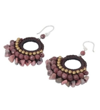 NOVICA Rhodonite Chandelier Earrings Sterling in Women's Drop & Dangle Earrings
