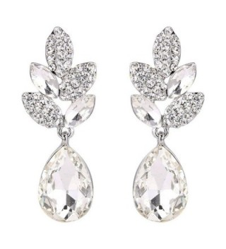 EVER FAITH Rhinestone Crystal Wedding Leaf Teardrop Pierced Dangle Earrings Silver-Tone - Clear - CD11KKCI9M1