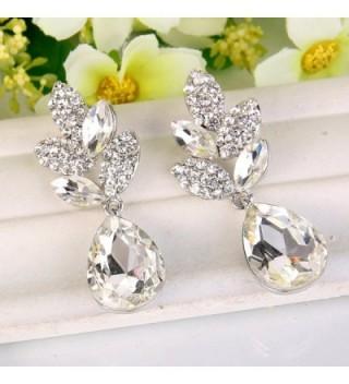 EVER FAITH Rhinestone Teardrop Silver Tone in Women's Drop & Dangle Earrings