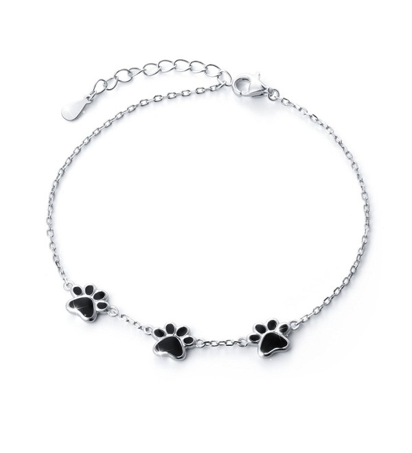 S925 Sterling Silver Puppy Dog Cat Pet Paw Print Bracelets - C318463Z4WE