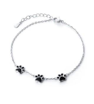 S925 Sterling Silver Puppy Dog Cat Pet Paw Print Bracelets - C318463Z4WE