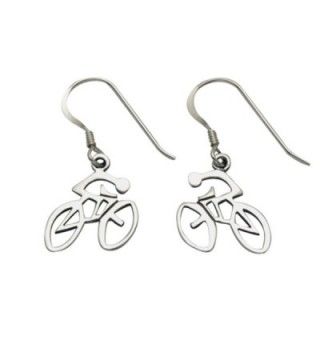 Sterling Silver Bike and Rider Wire Earrings - CH1104V3WYX