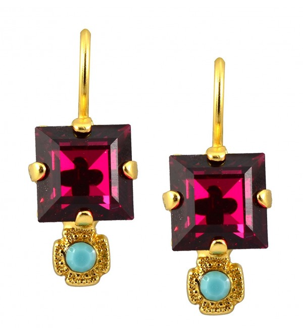 """Mariana Gold Plated """"Happy Days"""" Petite Square Fuchsia and Aqua Crystal Drop Earrings - CZ11FYYXYQL"""
