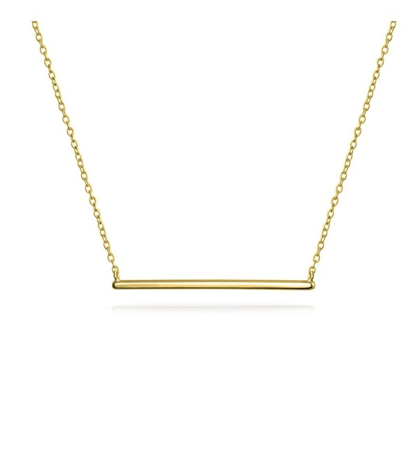 Bling Jewelry Modern Bar Pendant Gold Plated Necklace 16 Inches - CD12K5IJJ4V