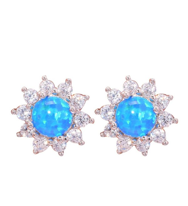 CiNily Rhodium Plated White Blue Pink Green Fire Opal Zircon Women Jewelry Gemstone Stud Earrings 12mm - Blue - CC17YH0WGYY