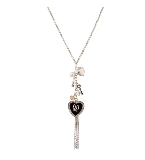 Lux Accessories Pave Heart Bow Fringe Lock Key imitation Pearl Trinket Charm Long Pendant Necklace - CA11WNX2YP3
