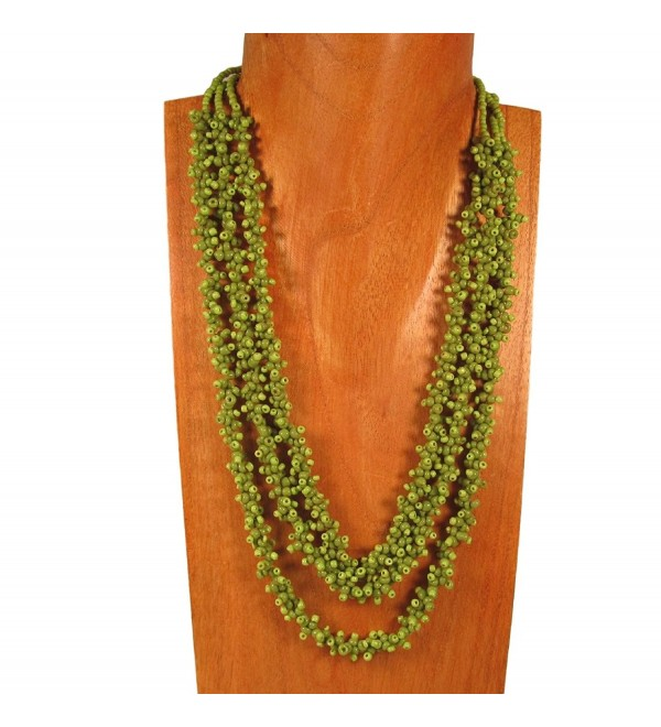 Multi Strand Glass Beaded Green Pebble Style Handmade Necklace Bali Bay Trading Co - CS12B4LWRNN