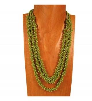 Multi Strand Glass Beaded Green Pebble Style Handmade Necklace Bali Bay Trading Co - CS12B4LWRNN