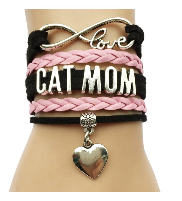 Infinity Love Cat Mom Bracelet- Heart Charm Leather Braided Bracelet - CY128V0UFGL