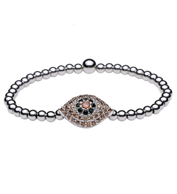 "Women Bracelet Cubic Zirconia / Titanium Steel Beads (4mm) Evil Eye Stretch 6""-6.5"" (Color: Silver) - C612I85BE8R"