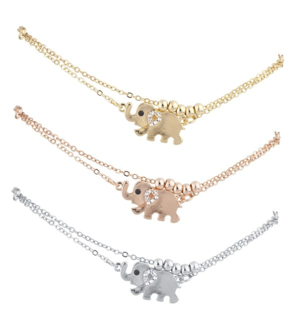 Lux Accessories Tri Color Tone Elephant Animal Boho Novelty Anklet Set 3PC - C5189I2SZEI