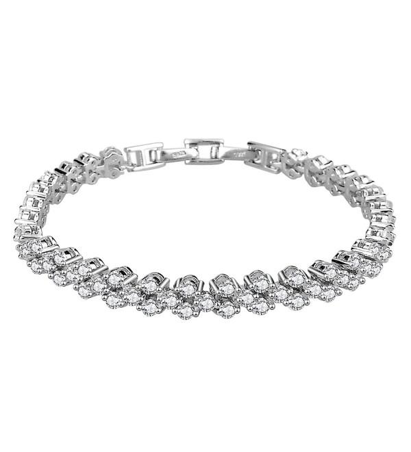 Elensan Woman's 925 Sterling Silver White Cubic Zirconia Tennis Platinum Plated Bling Bracelet - CE12L5GOZBJ