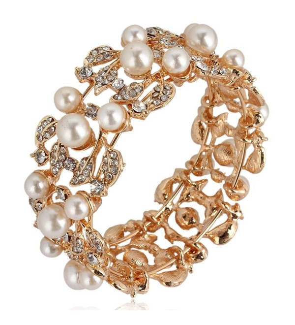 EVER FAITH Flower Ivory Color Cream Simulated Pearl Bracelet Clear Austrian Crystal Gold-Tone - CB11BGDLVB9