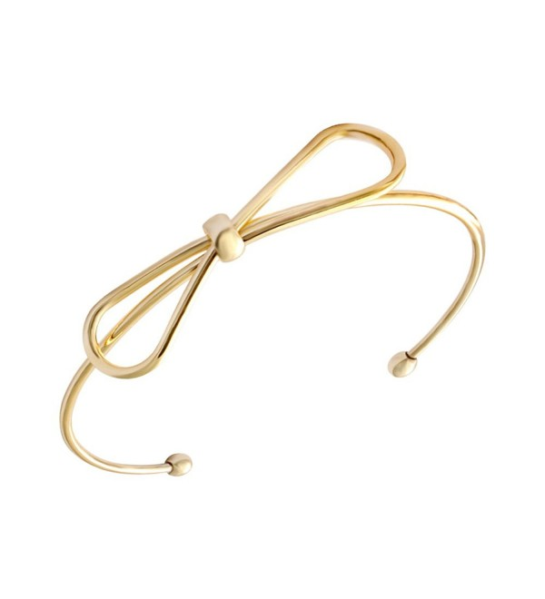 SENFAI New Fashion 18k Gold and Silver Plated Adjustable Simple Handmade Bow Knot Bracelets & Bangles for Women - CQ126NJC9GL