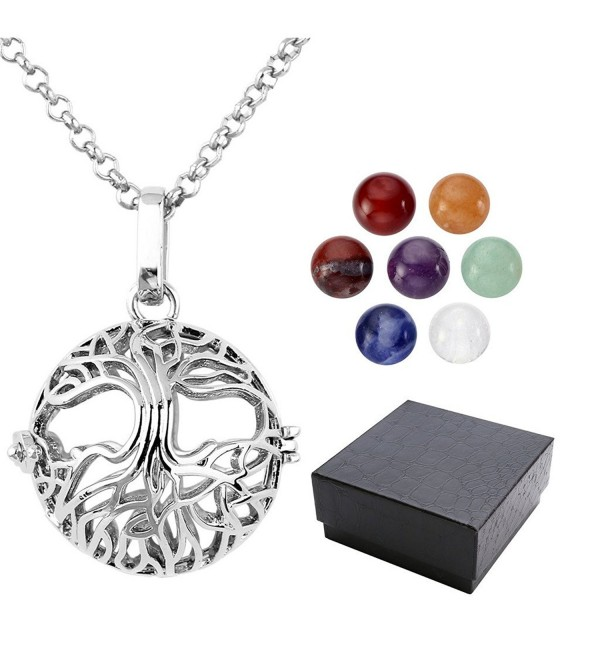 Top Plaza 7 Chakra 8mm Gemstone Healing Crystal Ball Reiki Locket Pendant Necklace - Tree of Life Ball - C512O23LRZI