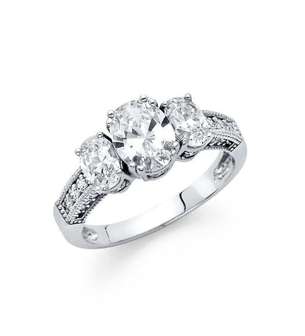 Wellingsale Ladies 925 Sterling Silver Polished Rhodium Wedding Engagement Ring - CH186MAMK9O