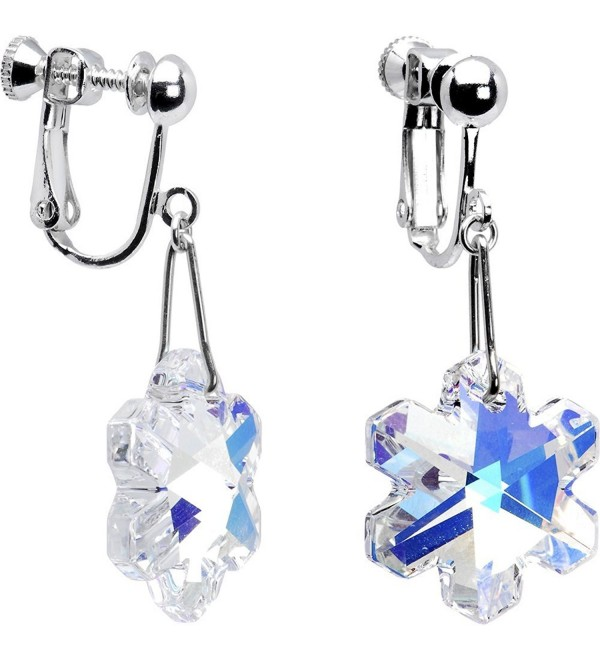 Body Candy Handcrafted Silver Plated Aurora Snowflake Clip Earrings Created with Swarovski Crystals - CO115FUE7ZV