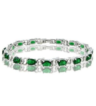 Simulated Emerald Plated Tennis Bracelet