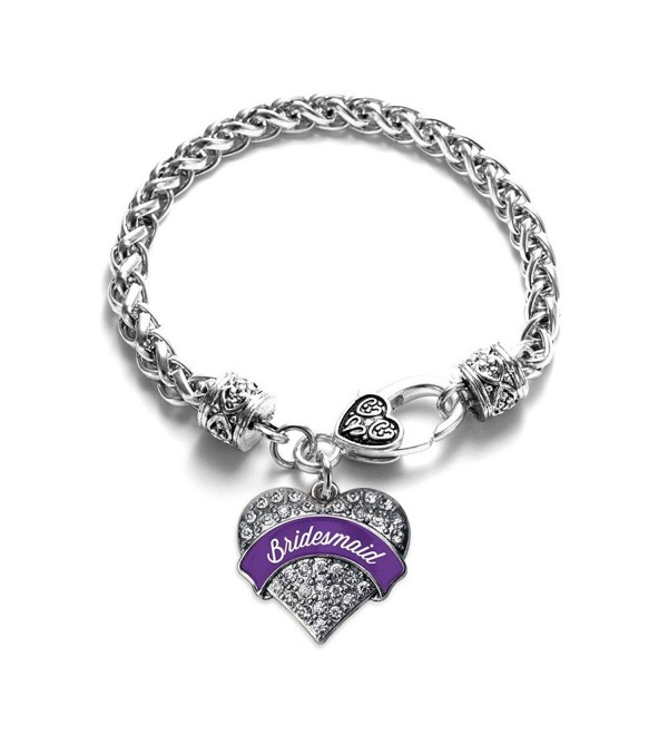 Purple Bridesmaid Pave Heart Bracelet Silver Plated Lobster Clasp Clear Crystal Charm - C7123HZCXPV