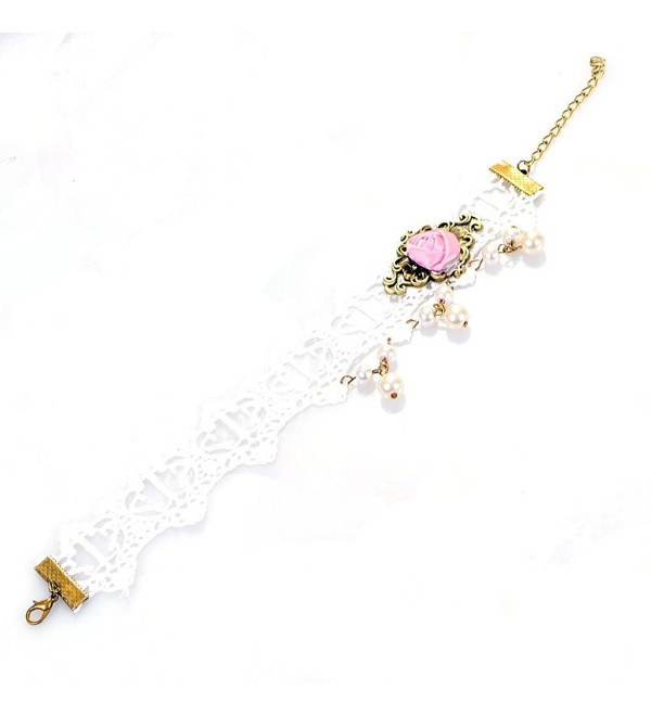 YAZILIND Romantic White Lace Pink Rose Alloy Anklets - C211LD07AM3