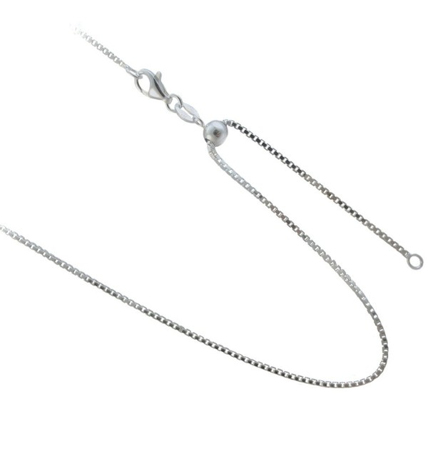 Adjustable 1.25mm Box Chain .925 Sterling Silver Necklace. 20- 24 Inches or Make it Shorter - C711U373C2Z
