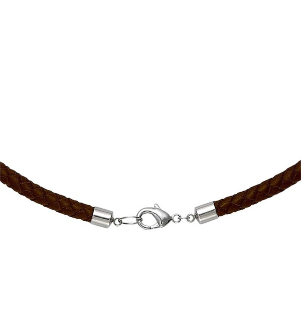 "6mm Brown Braided Leather Cord Necklace Choker 16"" - CA115GSWL6J"