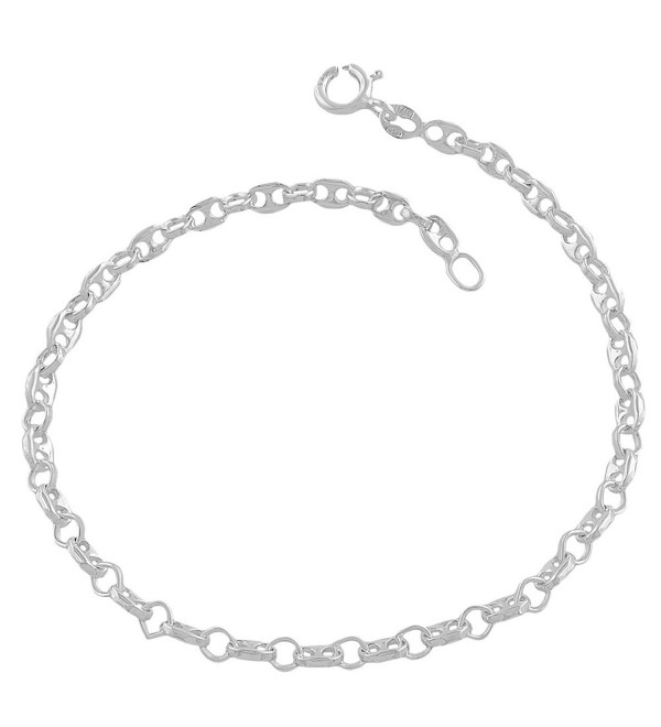 Sterling Silver 3.3-mm Alternate Puffed Mariner/ Rolo Link Bracelet (7.5 Inch) - CF118SPEBL5