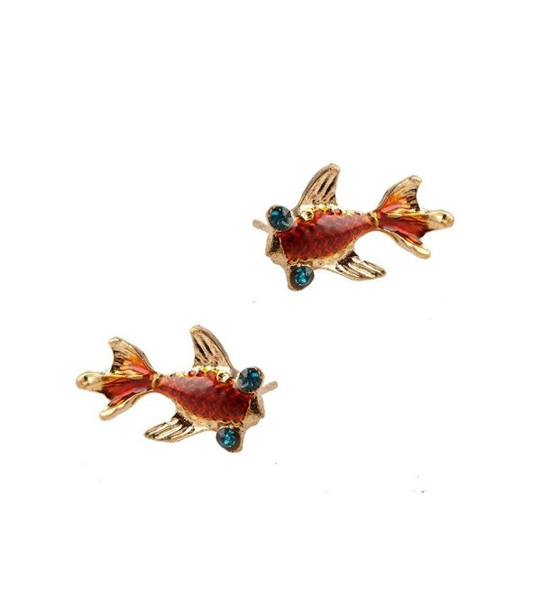 Golden Enameled Koi/Goldfish Post Earrings with Crystal Detail - CP12K7RGW6N