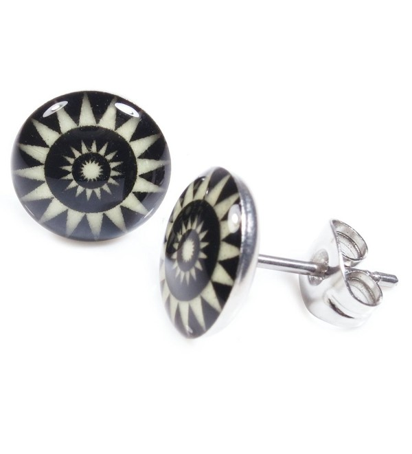 Pair Stainless Steel Glow In The Dark Sun Flower Post Stud Earrings - CK11DE853E5