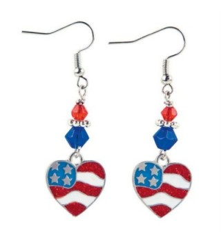 4th of July Patriotic Red and Blue Flag Heart Dangle Earrings Jewelry - C311VAFNFTD
