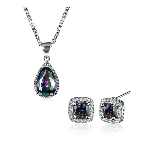 Multicolor Zirconia Earrings Pendant Necklace - Earrings and Necklace Set Style 2 - CT1899M6Z5D