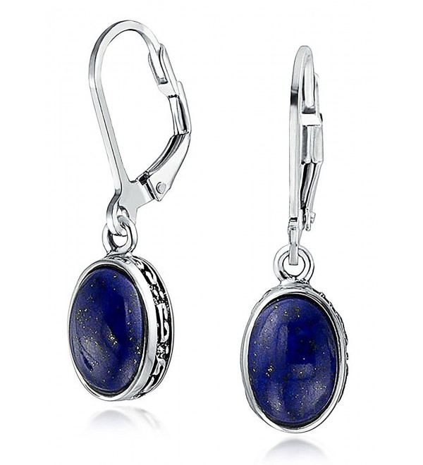 Bling Jewelry .925 Silver Oval Natural Untreated Lapis Lazuli Drop Earrings - C312LV9AM2Z