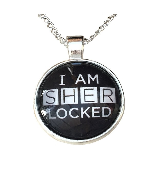 "Holmes Jewelry ""I am SHERLOCKED"" Glass Cabochon Pendant Necklace - CC126B04DJD"