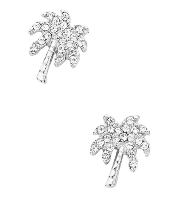 Liavys Tropical Palm Fashionable Earrings - Clear (Rhodium Plated) - C317XHUG8KX