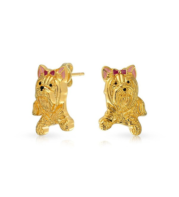 Bling Jewelry Yorkshire Terrier Dog Animal Stud earrings Gold Plated 18mm - CW11PUV52KJ
