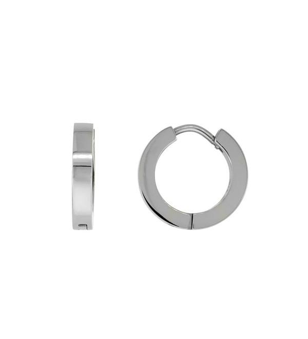 Stainless Steel Thin Plain Huggie Earrings Square Edge- 1/2 inch diameter - C7117UI0151