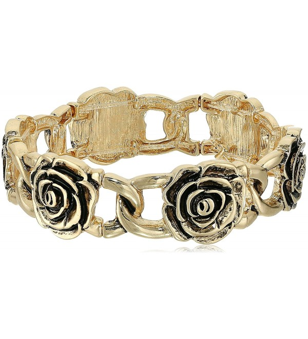 1928 Jewelry Rose Flower Stretch Bracelet - Gold - CJ17Z4YUS7H