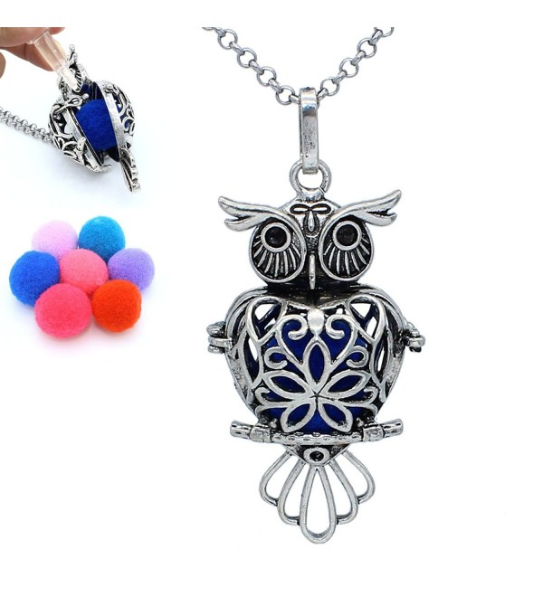 Charms Aromatherapy Jewelry Antique Silver Owl Heart Locket Essential Oil Diffuser Pendant Chain Necklace - CC12N6CBZHJ