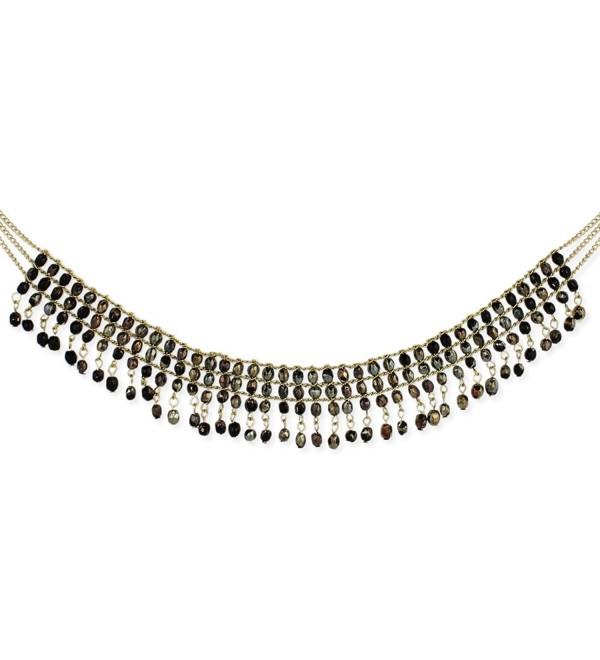 "ZAD Iridescent Black Beaded Multi Row Elegant Statement Choker Collar Necklace- 14"" - 16"" - C0120QZQ81F"