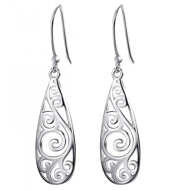 Bassion Sterling Silver Filigree Teardrop Earrings Fashion Dangle Drop Earrings for Women Girls - Silver-colored - C818985X249