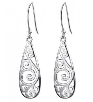 Bassion Sterling Silver Filigree Teardrop Earrings Fashion Dangle Drop Earrings for Women Girls - Silver-colored - C818985X249