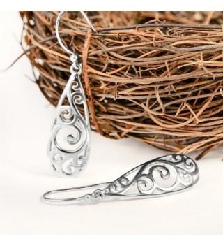 Bassion Sterling Filigree Teardrop Earrings in Women's Drop & Dangle Earrings