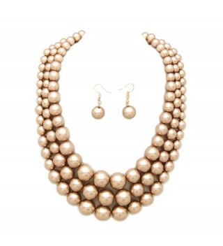 Women's Simulated Faux Three Multi-Strand Pearl Statement Necklace and Earrings Set - Champagne Gold - CK18C7GDD92