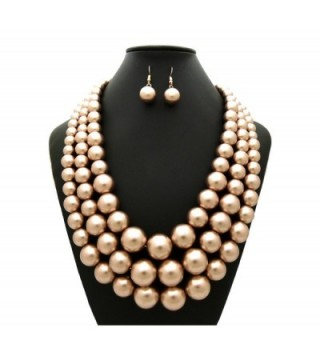 Simulated Multi Strand Statement Necklace Champagne