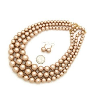 Simulated Multi Strand Statement Necklace Champagne in Women's Jewelry Sets