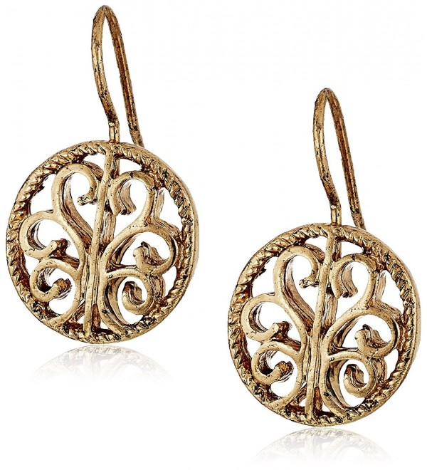 1928 Jewelry Round Drop Earrings - Gold - CA11F1LTPSX