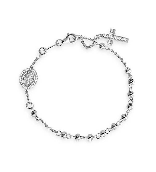 925 Sterling Silver Cubic Zirconia Rosary Bracelet 7in - CD11HMX9LQJ